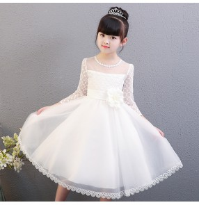 Girls princess dress for kids children rose white color  jazz singers performance flower girls wedding party cosplay dresses